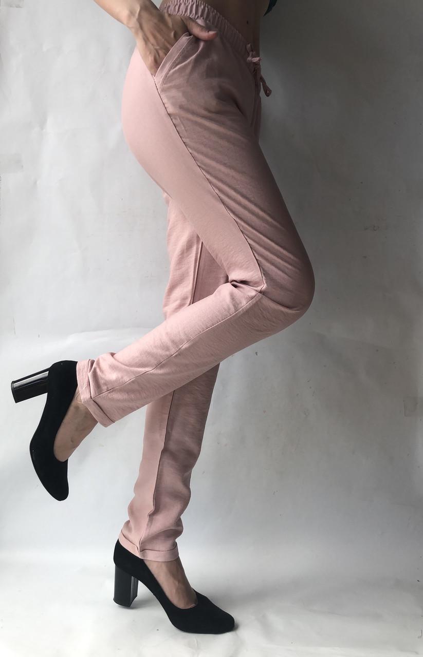 Летние брюки из льна жатки №23 БАТАЛ розовый