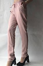Летние брюки из льна жатки №23 БАТАЛ розовый, фото 2