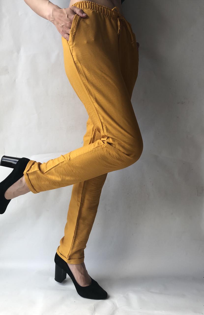 Летние брюки из льна жатки №23 БАТАЛ песок