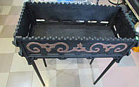 Чугунный разборной мангал для пикника, чугунный,большой на высоких съёмных ножках.