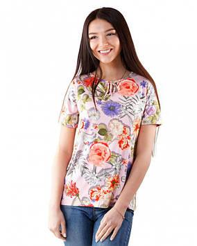 Яркая батальная футболка женская (размеры M до 3XL)