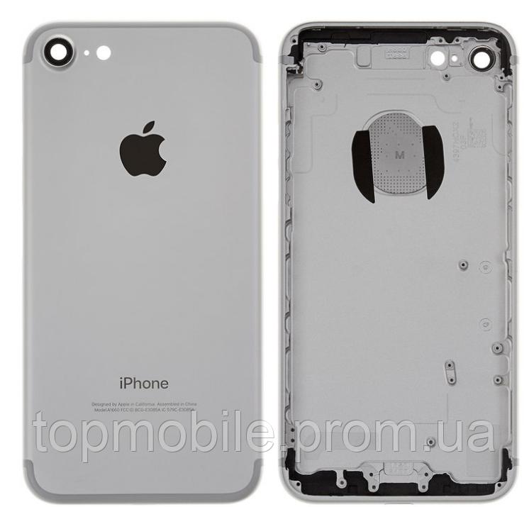 Корпус для iPhone 7, серебристый, копия высокого качества