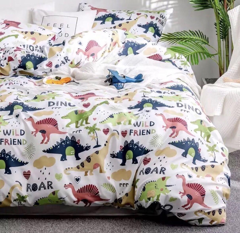 Двоспальний постільний комплект - Динозаври друзі