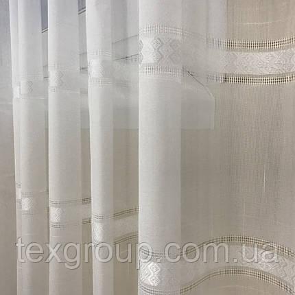 Готовая льняная тюль 5М А-3 белая, фото 2