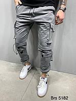 Мужские спортивные штаны серого цвета с манжетом и накладными карманами