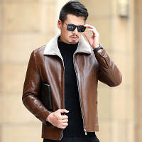Мужская кожаная куртка. Модель 18140, фото 3
