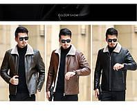 Мужская кожаная куртка. Модель 18140, фото 6