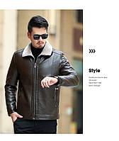 Мужская кожаная куртка. Модель 18140, фото 8