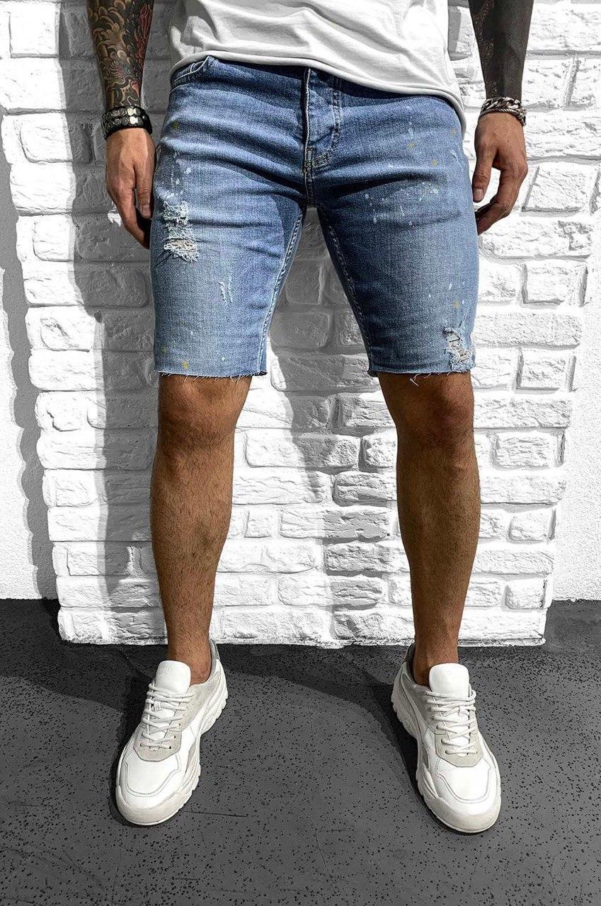 Чоловічі джинсові шорти Black Island синього кольору подряпані