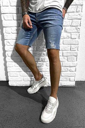 Чоловічі джинсові шорти Black Island синього кольору подряпані, фото 2