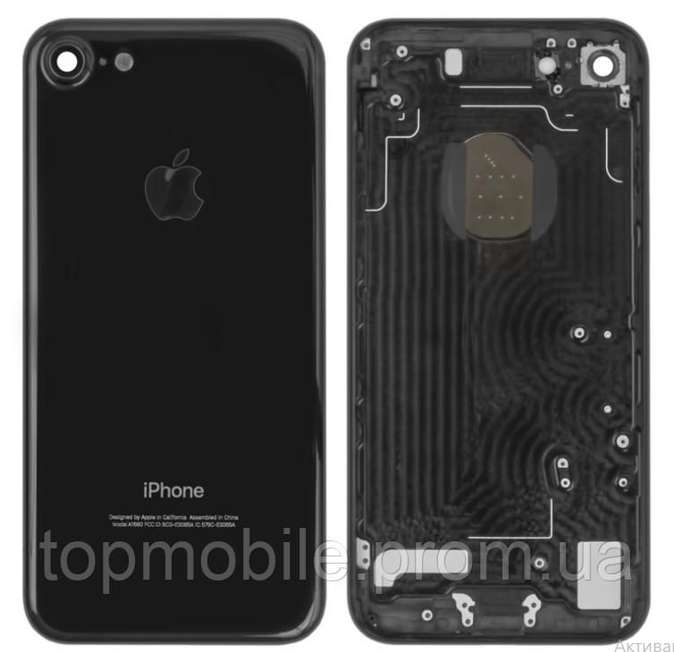 Корпус для iPhone 7, черный, глянцевый, Jet Black, оригинал (Китай)