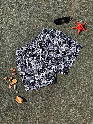 Шорти чоловічі купальні чорного кольору з квітами, фото 2
