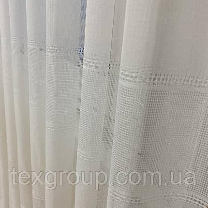 Готовая льняная тюль 4М L-14 белая с плетнием, фото 2