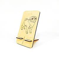 Подставка для мобильного телефона смартфона мопс Мастерская мистера Томаса 18х10см Фанера 4мм