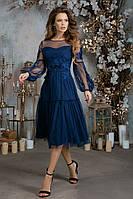 """Вечернее миди-платье """"Marcelina"""" с сеткой и вышивкой (2 цвета)"""