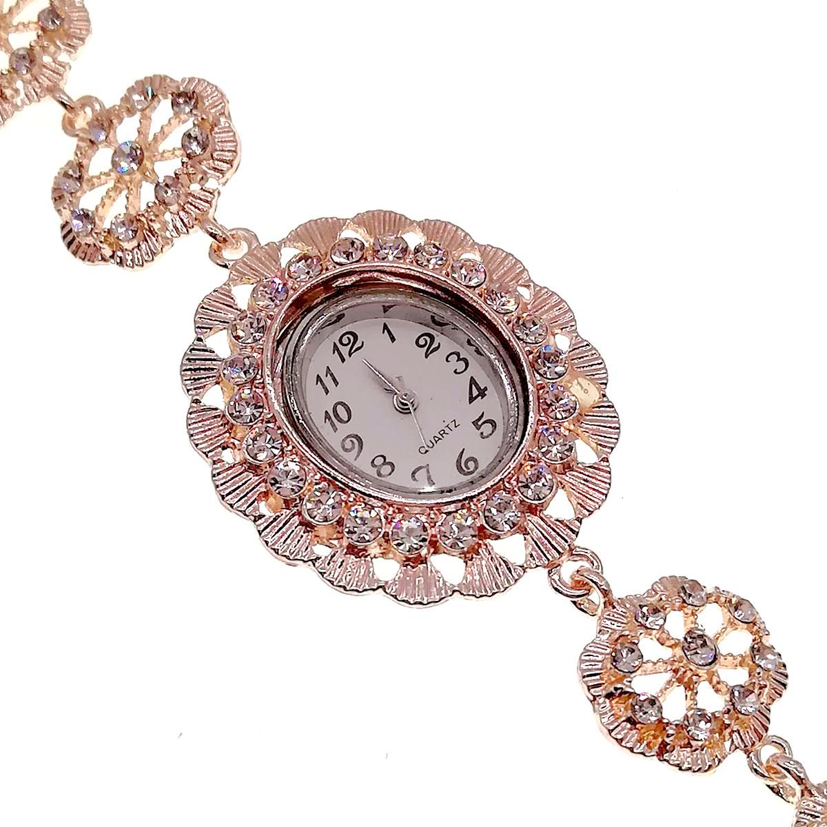 Кварцевые часы SONATA, белые фианиты, позолота РО, 95998       (1)