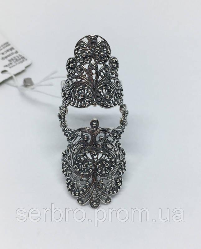 Срібне мереживне колечко на весь палець Версаль