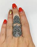Срібне мереживне колечко на весь палець Версаль, фото 2