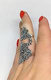 Срібне мереживне колечко на весь палець Версаль, фото 3