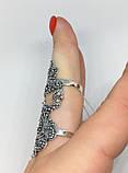 Срібне мереживне колечко на весь палець Версаль, фото 5
