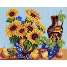 Вишивка нитками, Канва Квіти Натюрморт з соняшниками