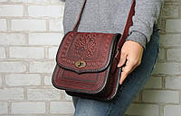Женская кожаная сумка ручной работы (метод горячего тиснения), бордовая сумка, фото 1