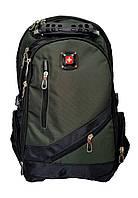 Швейцарский эргономичный  рюкзак WENGER SwissGear 8810 black с дождевиком,USB-кабелем, разъёмом под наушники.