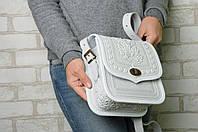 """Женская кожаная сумка """"Дубок"""", ручная работа (метод горячего тиснения), белая кожаная сумка, фото 1"""