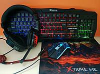 Набор XTRIKE ME CM-404 4в1 игровая клавиатура (ENG раскладка) + мышь + наушники + коврик