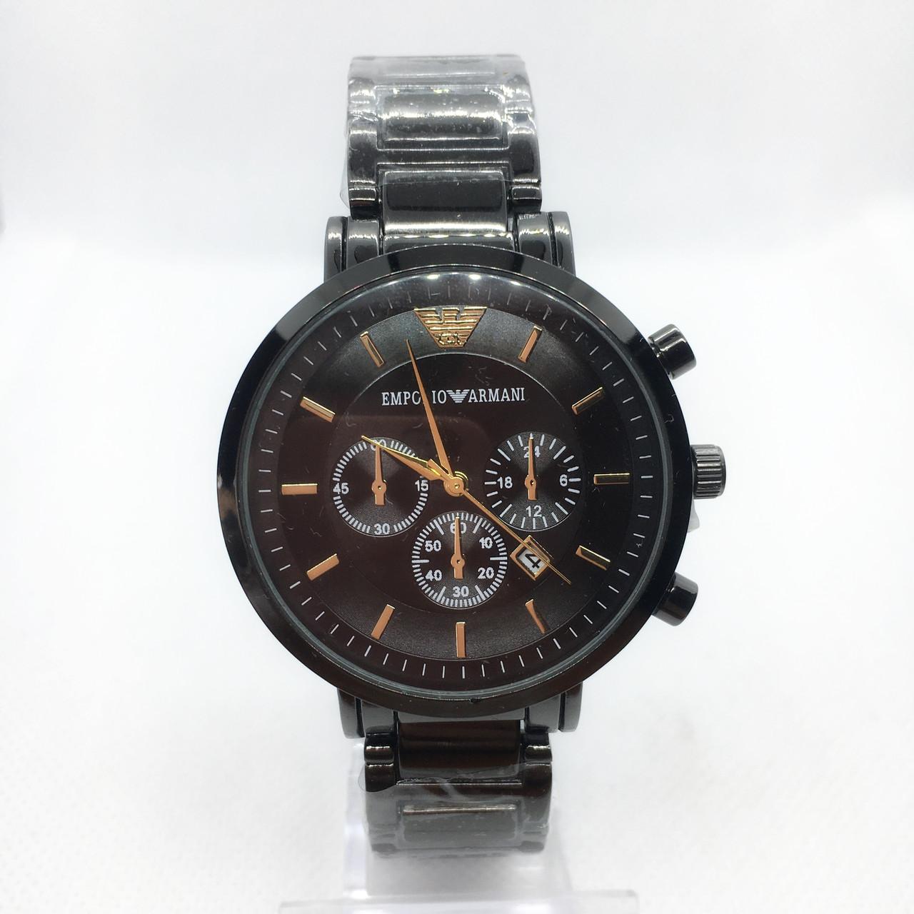 Часы мужские наручные Emporio Armani (Эмпорио Армани), черные ( код: IBW375B )