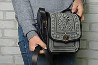 Женская кожаная сумка ручной работы (метод горячего тиснения)., фото 1