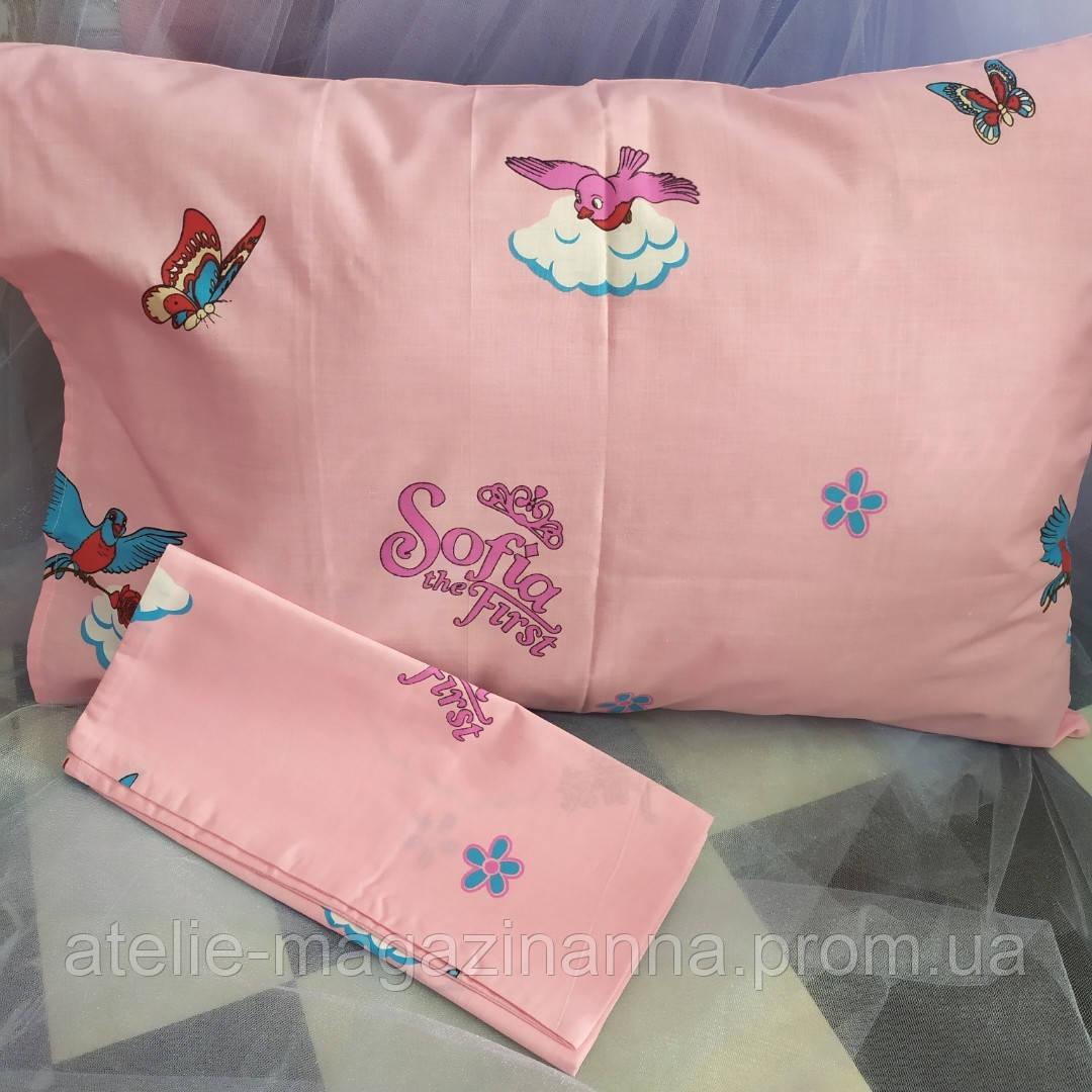 Наволочка на подушку из бязи 50*70 для девочки розовая София недорого