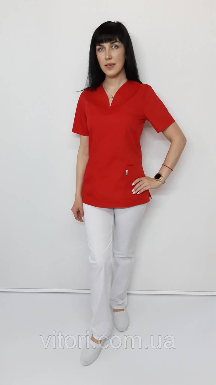 Жіночий медичний костюм Кенді сорочкова тканина короткий рукав 46 - 48 розмір