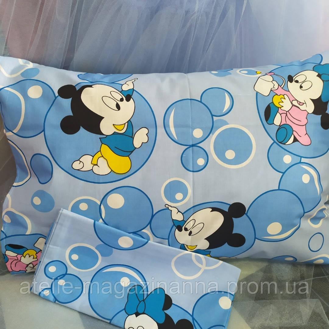 Наволочка на подушку из бязи 50*70 детская голубая Мики Маус недорого