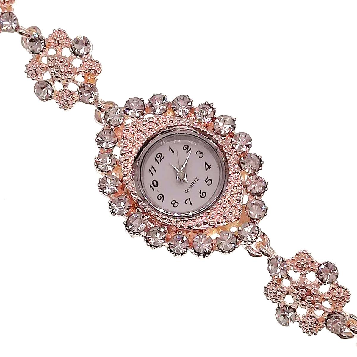 Кварцевые часы SONATA, белые фианиты, позолота РО, 95995             (1)