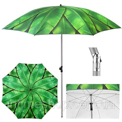 Великий пляжний зонт   1.8 м. Зелений, пальмове листя - посилений складаний парасолька для пляжу