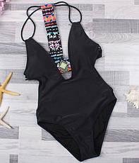 Купальник на подкладке мягкий лиф со съемными вкладышами Черный, фото 3