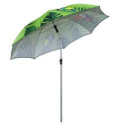 Огромный зонт пляжный от солнца - 2 м. Зеленый, попугаи - усиленный складной для пляжа (GK)