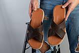 Мужские кожаные коричневые шлепанцы, фото 7