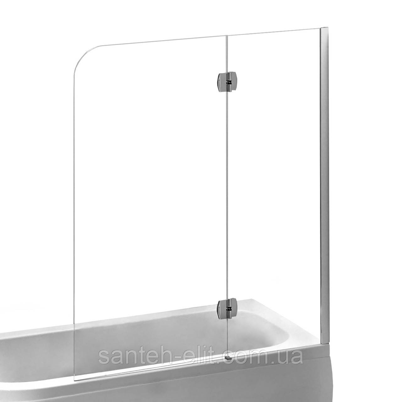 Шторка на ванну 120*150см, права, профіль хром