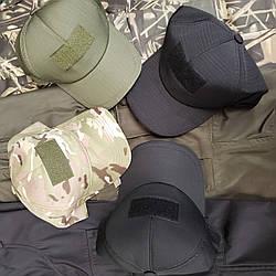 Кепка бейсболка камуфляжна кольору мультикам, хакі, чорна розмір 56-58 з липучкою для шеврона охорона