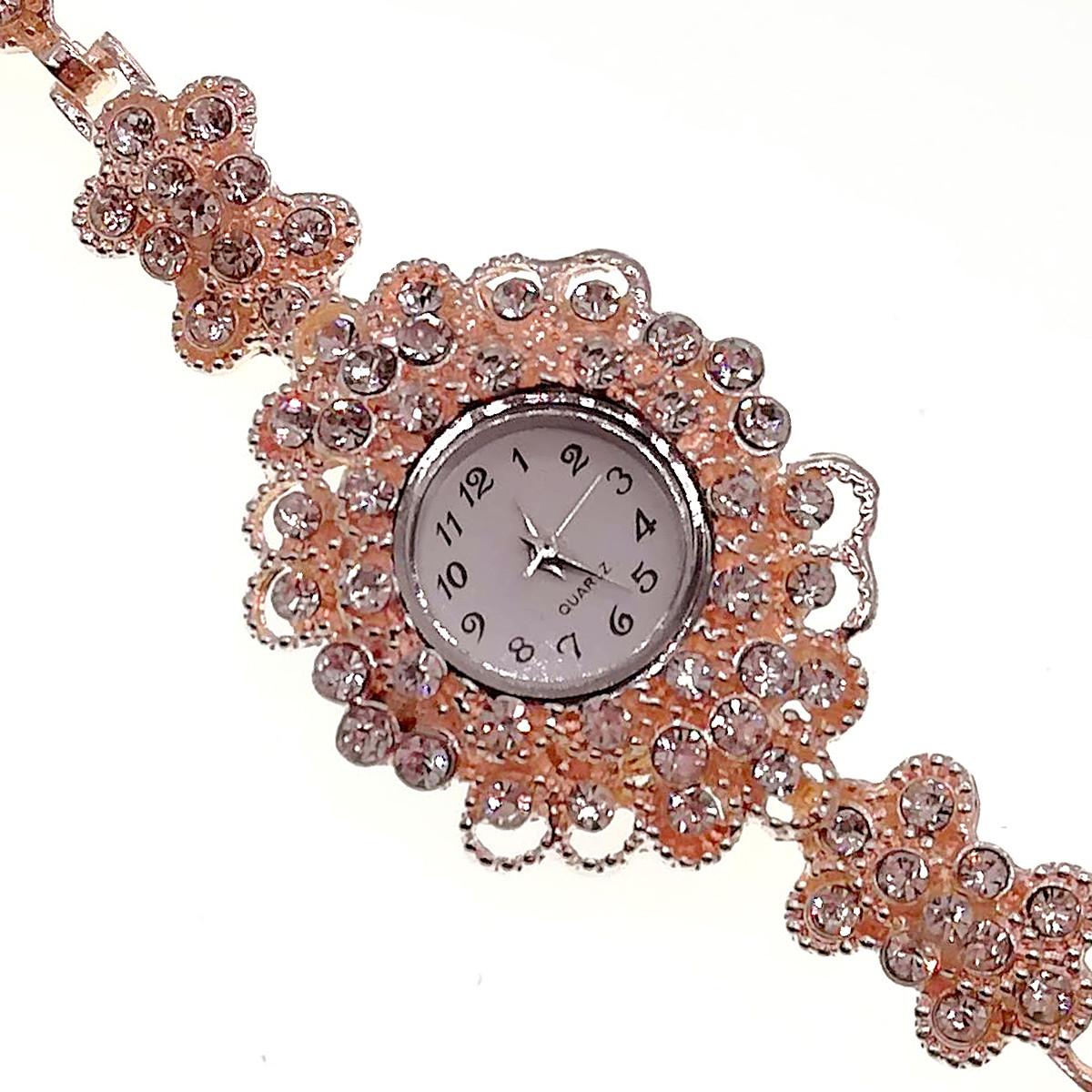 Кварцевые часы SONATA, белые фианиты, позолота РО, 95996                         (1)