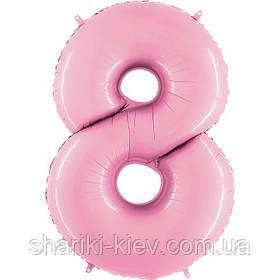Цифра 8 розовая пастель с Гелием