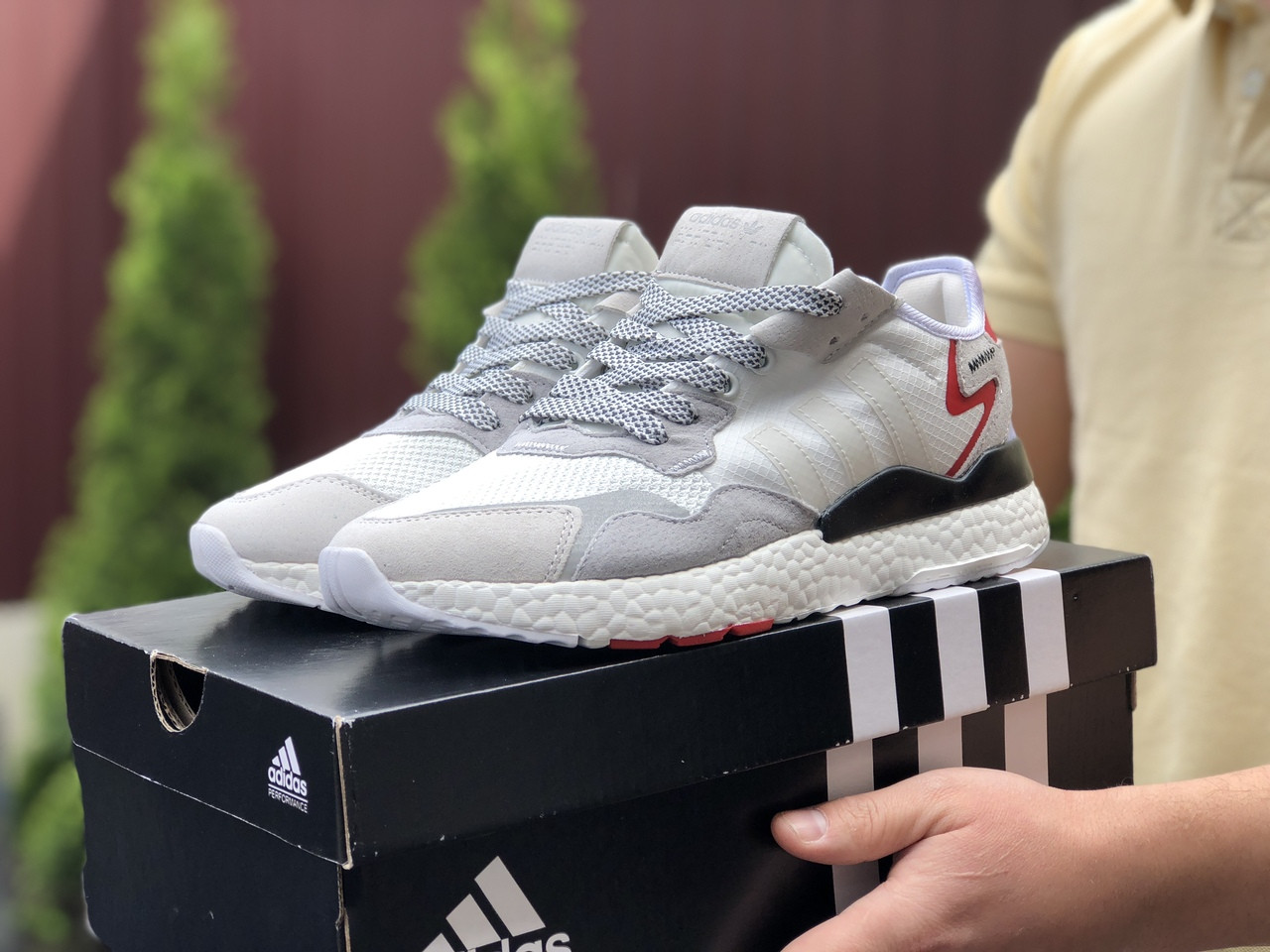 Чоловічі кросівки Adidas Nite Jogger Boost 3M (білі) 9437