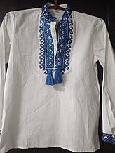 Мужская детская вышиванка с синей вышивкой