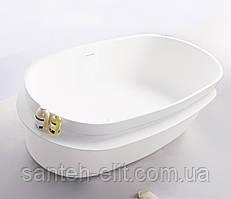 Ванна кам'яна Volle Solid surface окрема 160*75см з поличкою (12-40-054)