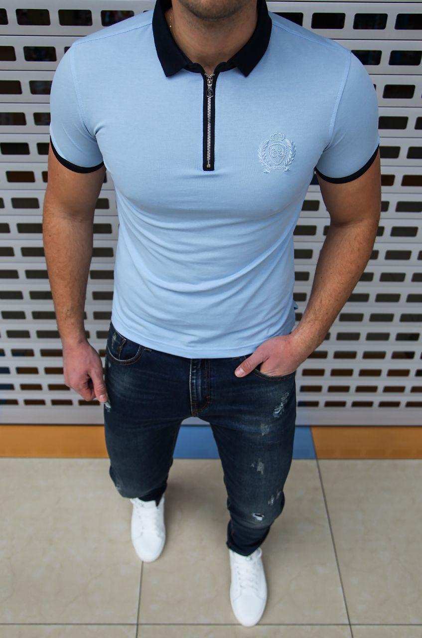 Мужская футболка поло Castello d'Oro H0590 голубая