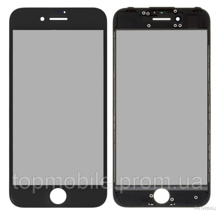 Стекло для iPhone 7, черное, с рамкой, с OCA-пленкой