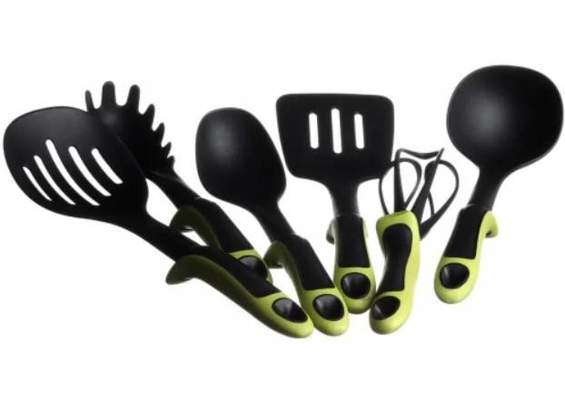 Набор кухонных принадлежностей KITCHEN TOOLS с зелёными ручками, 7 предметов