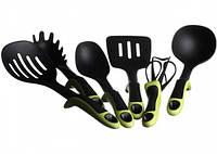 Набор кухонных принадлежностей KITCHEN TOOLS с зелёными ручками, 7 предметов, фото 1